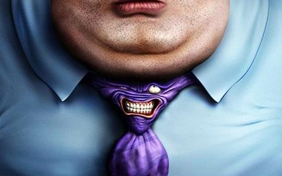 толстый подбородок с галстуком