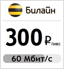 Тариф интернета Билайн за 300 рублей