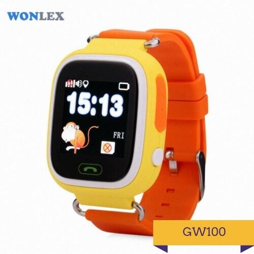 Детские умные часы Q100 оранжевого цвета