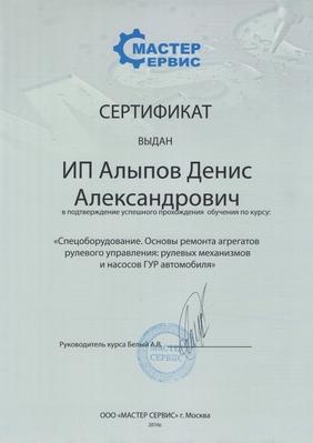 Сертификат Мастерсервис Алыпов