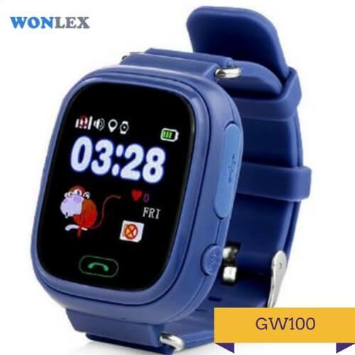 Детские умные часы Q100 темно-синего цвета