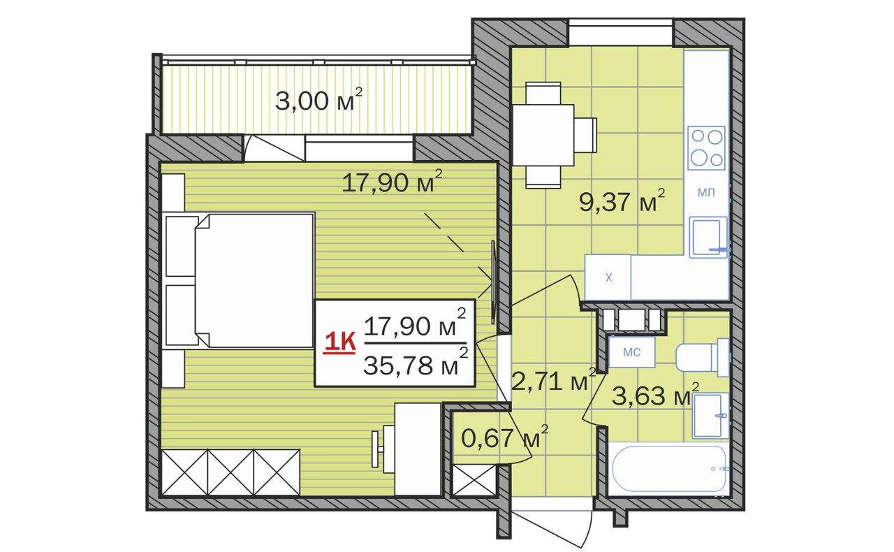 планировка однокомнтаной квартиры