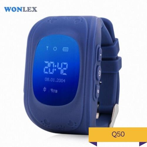 Детские умные часы Q50 темно-синего цвета