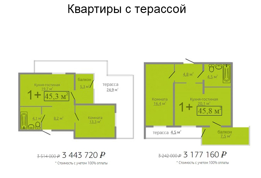 планировка однокомнатной квартиры с терассой