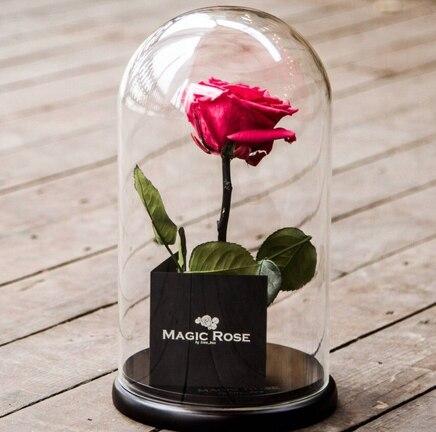 Роза в колбе ярко-розовая Magic Rose