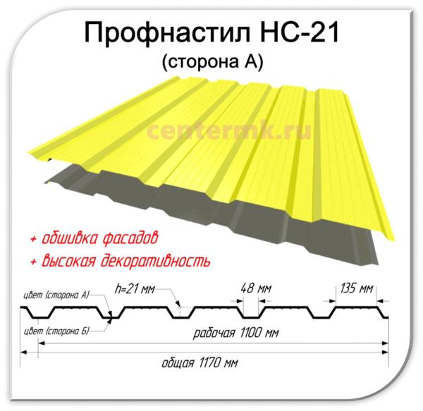 Профнастил НС-21 сторона А в Перми