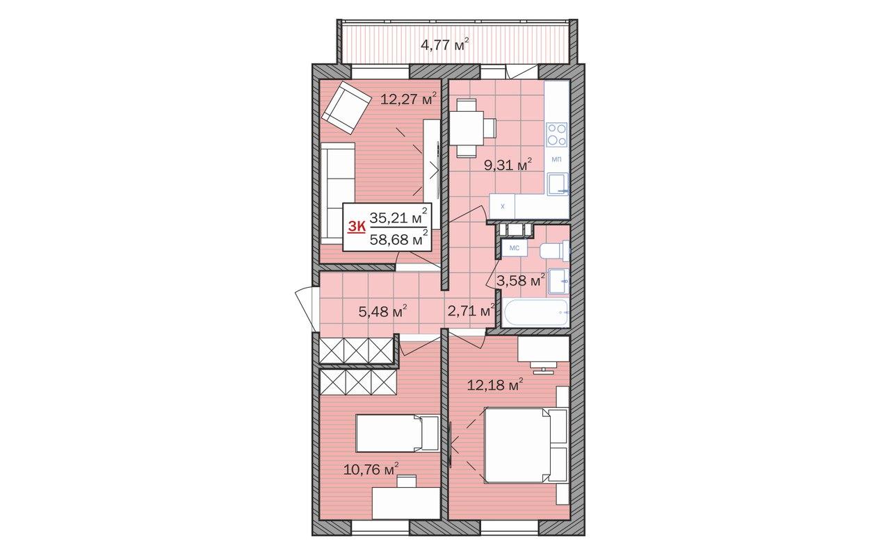 планировка двухкомнатной квартиры 16,79 кв.м. в жилом комплексе москва в тюмени