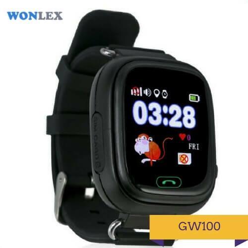 Детские умные часы Q100 черного цвета