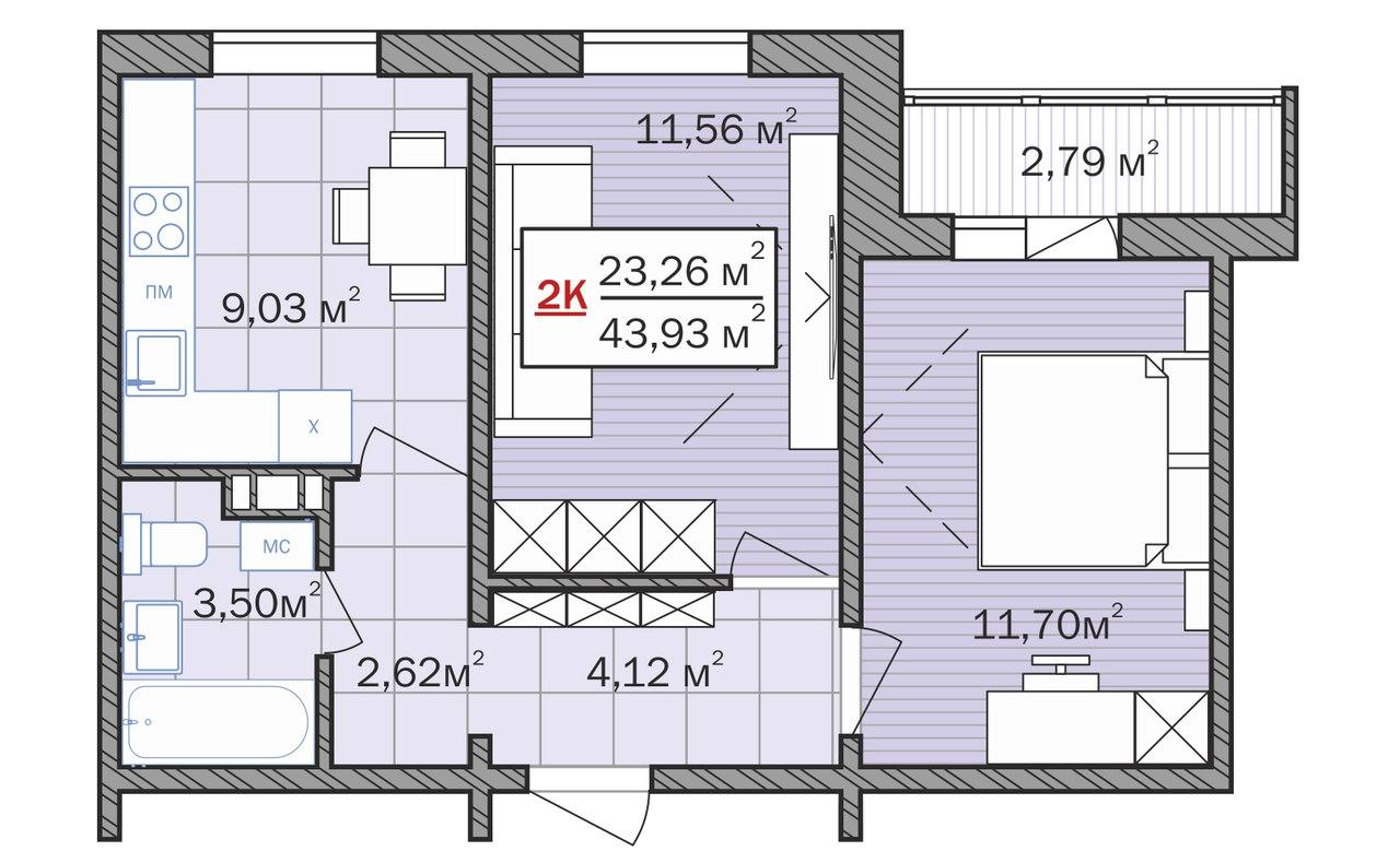 планировка двухкомнтаной квартиры