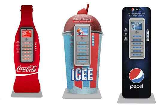 зарядные станции CocaCola, pepsi