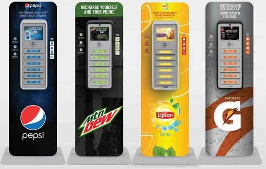 зарядные станции pepsi, mtn dew, lipton, gatorade